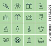 set of 16 celebration icons.... | Shutterstock .eps vector #566421001