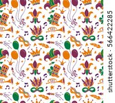 mardi gras seamless pattern... | Shutterstock .eps vector #566422285