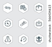 set of 9 travel icons. includes ... | Shutterstock .eps vector #566434615