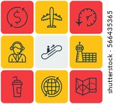set of 9 airport icons.... | Shutterstock .eps vector #566435365