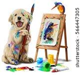 puppy the artist draws the bird | Shutterstock . vector #566447305