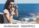 tourist traveler photographer... | Shutterstock . vector #566449411