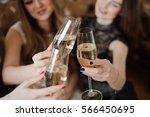 portrait of happy young friends ... | Shutterstock . vector #566450695