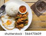 thai food red curry chicken rice   Shutterstock . vector #566470609