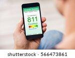 man holding smart phone showing ...   Shutterstock . vector #566473861