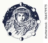 woman astronaut tattoo art.... | Shutterstock .eps vector #566479975