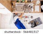 high angle view of male plumber ... | Shutterstock . vector #566481517