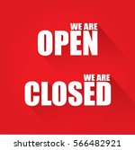 open and closed text   flat... | Shutterstock .eps vector #566482921