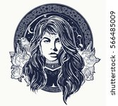woman oracle tattoo art.... | Shutterstock .eps vector #566485009