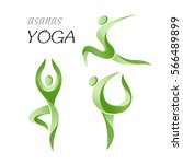 yoga poses. icons set. | Shutterstock .eps vector #566489899