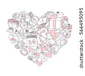 valentine icon set  freehand... | Shutterstock .eps vector #566495095