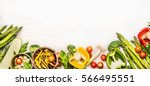 variety of organic vegetables... | Shutterstock . vector #566495551
