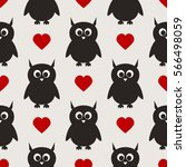 repeated silhouettes of owls... | Shutterstock .eps vector #566498059