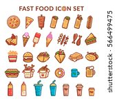 fast food icon set. vector | Shutterstock .eps vector #566499475