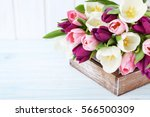 Bouquet Of Tulips On A White...
