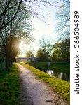 small bridge in the city in... | Shutterstock . vector #566504989