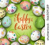 colorful realistic eggs and... | Shutterstock .eps vector #566509189