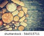 bread  rolls  pastries ... | Shutterstock . vector #566515711
