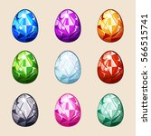 cartoon colorful crystal easter ...