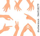 hand gestures set isolated on... | Shutterstock .eps vector #566518279