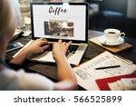 coffee time break cafe leisure... | Shutterstock . vector #566525899