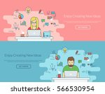woman and man working with... | Shutterstock .eps vector #566530954