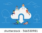 cloud downloading concept... | Shutterstock .eps vector #566530981