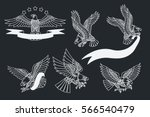 vector american eagles set... | Shutterstock .eps vector #566540479