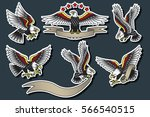 vector american eagles set... | Shutterstock .eps vector #566540515