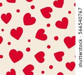 seamless hearts and dots... | Shutterstock .eps vector #566540767