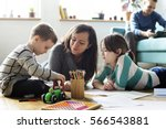 family spend time happiness... | Shutterstock . vector #566543881