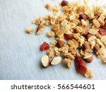 close up top view muesli ... | Shutterstock . vector #566544601
