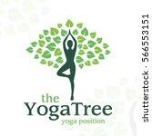 Vector Yoga Logo Concept. Tree...