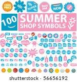 100 summer shop symbols. vector | Shutterstock .eps vector #56656192