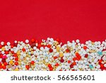 top view colorful medicine on... | Shutterstock . vector #566565601