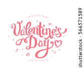 happy valentine's day pink... | Shutterstock .eps vector #566571589
