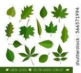 Leaves Icon Set. Vector...