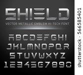 modern metallic hi tech font.... | Shutterstock .eps vector #566585401