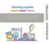 household cleaning supplies... | Shutterstock .eps vector #566595481