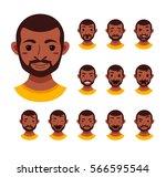 american african men facial... | Shutterstock .eps vector #566595544