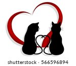 silhouettes of two cats in love ... | Shutterstock .eps vector #566596894