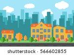 vector city with cartoon houses ... | Shutterstock .eps vector #566602855