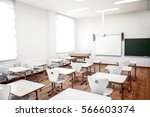 empty classroom with chairs and ... | Shutterstock . vector #566603374
