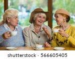 Elderly Ladies In Cafe Smiling...