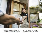 delivery courier freight... | Shutterstock . vector #566607295