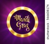 mardi gras logo. vector... | Shutterstock .eps vector #566608174