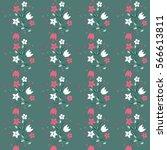 vintage feedsack pattern in... | Shutterstock . vector #566613811
