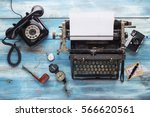 Small photo of Old typewriter with old vintage accessorize for journalist