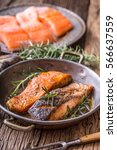 salmon fillets. grilled salmon  ... | Shutterstock . vector #566637559