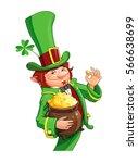 gnome leprechaun. fairy tale... | Shutterstock .eps vector #566638699